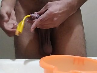 Peeing using a pipe inside my dick