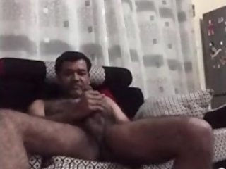 Indian daddy fingering his asshole and tasting his pre cum