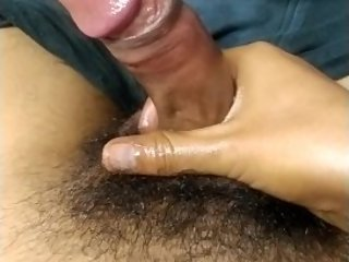 Young girl give massage therapy to his boyfriend's Big dick