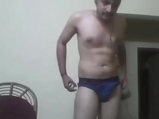 Indian guy showing his new underwears to his girlfriend on cam
