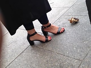 Candid Indian feet in high heels