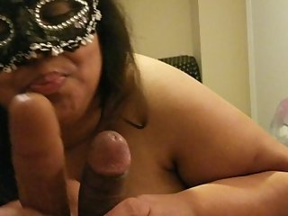 BBW Wife Cuckold SPH husband 6 inch dick with 8 inch BBC Dildo Cums hard