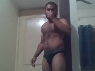 Big indian guy showing his thick thighs and ass in underwear